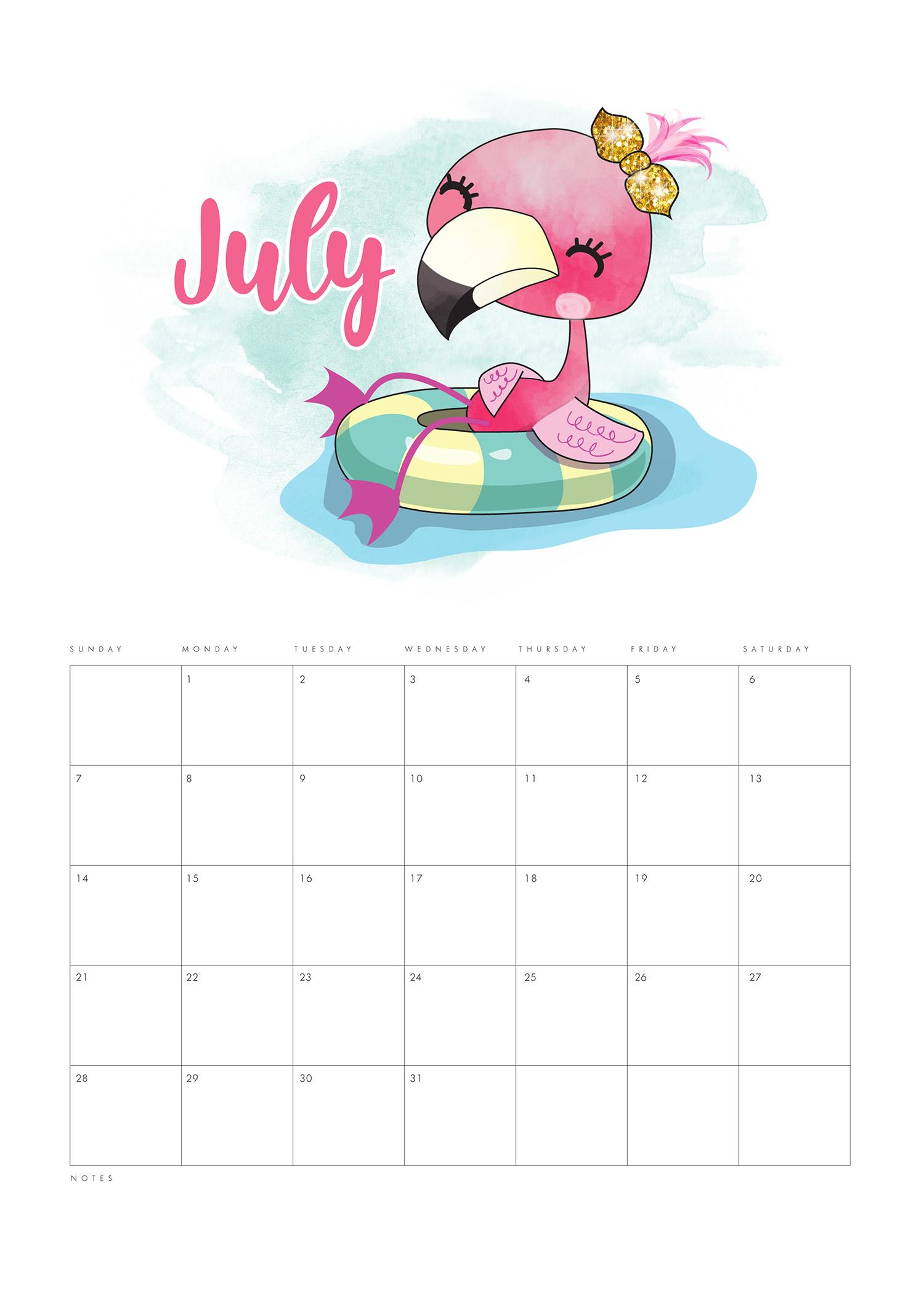 free printable 2019 funny flamingo calendar