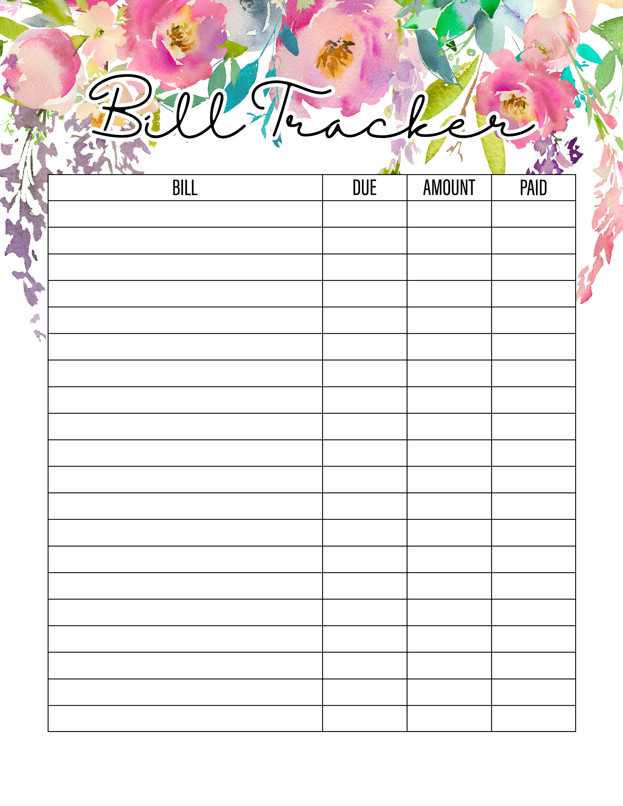 photograph about Bill Tracker Printable named The Excellent 2019 Absolutely free Printable Planner in direction of Set up Your Existence