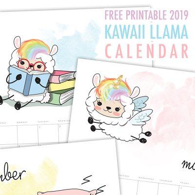 Free Printable 2019 Kawaii Llama Calendar