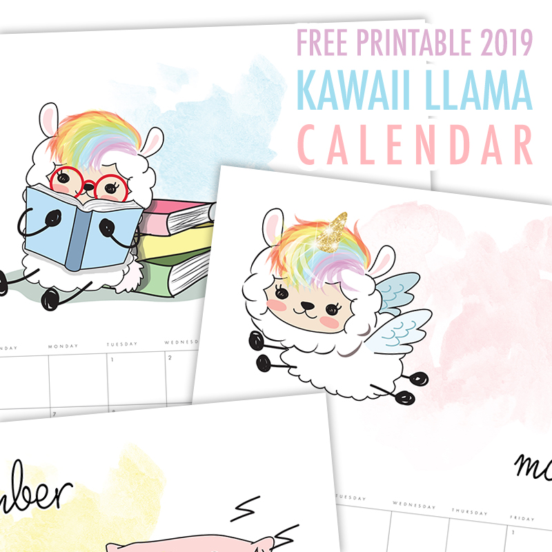 photograph regarding Llama Printable titled Free of charge Printable 2019 Kawaii Llama Calendar - The Cottage Sector
