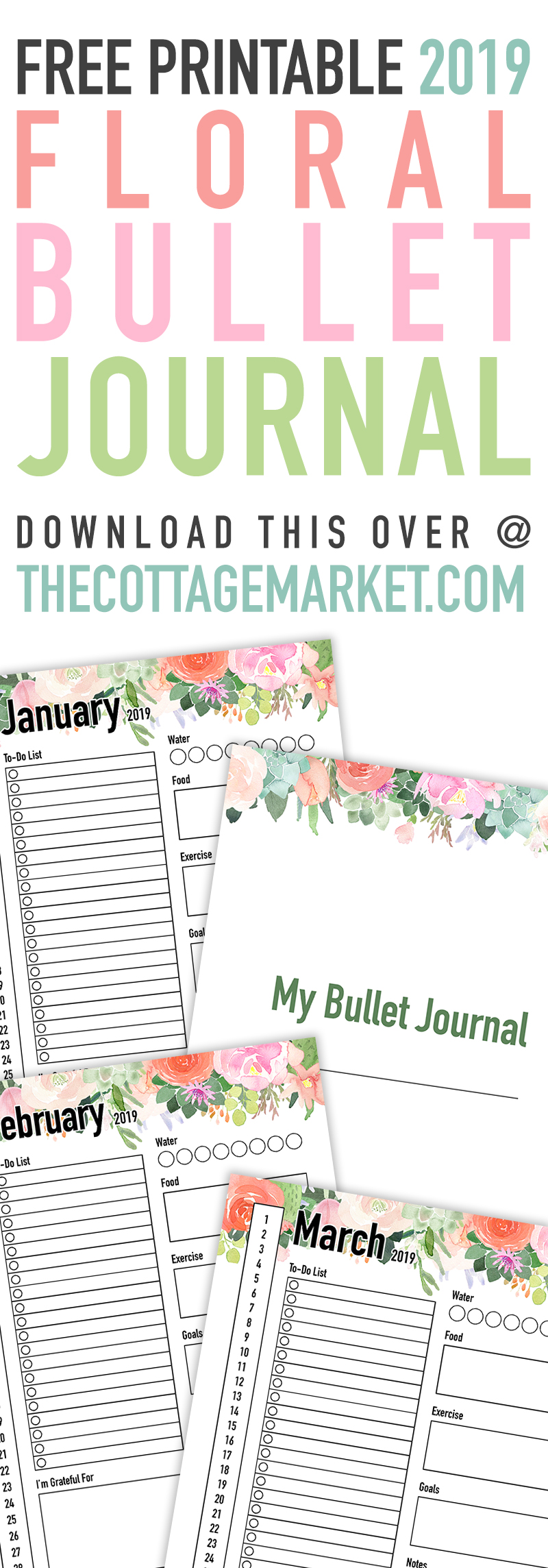 This Free Printable 2019 Floral Bullet Journal is waiting for you to print out so you can keep track of your life day to day! Get organized in 2019!