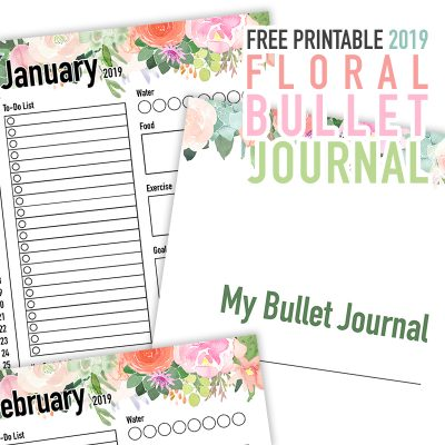Free Printable 2019 Floral Bullet Journal