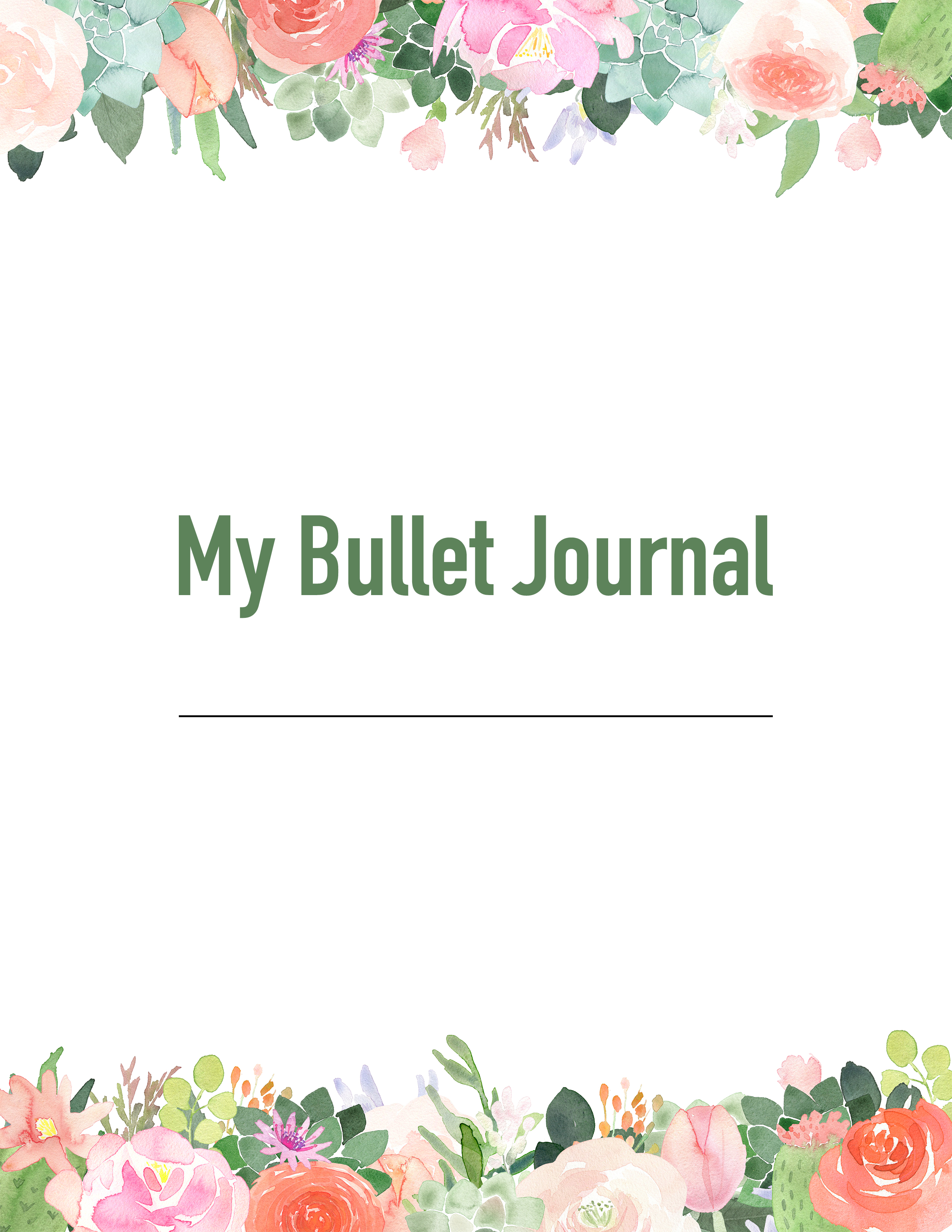 photograph relating to Journal Cover Printable named Totally free Printable 2019 Floral Bullet Magazine - The Cottage Sector