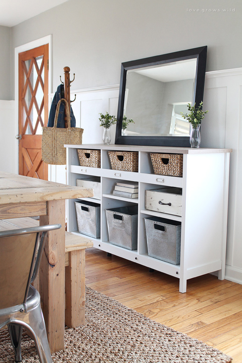 Farmhouse Storage DIYS and IDEAS are a hot commondity right now as our New Year begins. After you use the KonMari Method you can store yours pots and pans in style!