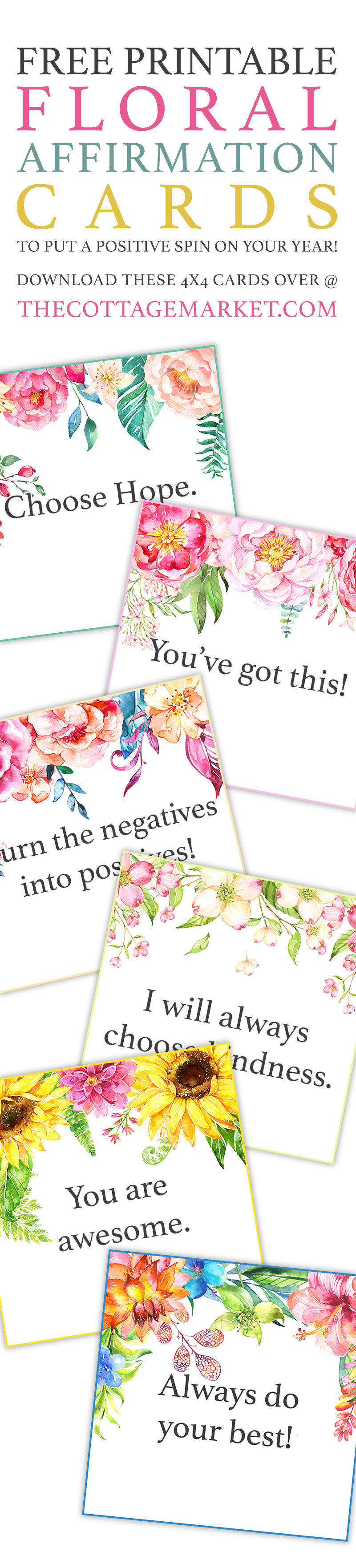 image about Affirmation Cards Printable named Cost-free Printable Floral Confirmation Playing cards /// Toward Position a