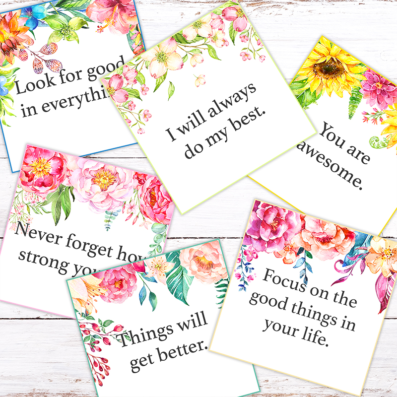 photo relating to Affirmation Cards Printable called No cost Printable Floral Confirmation Playing cards /// Towards Position a