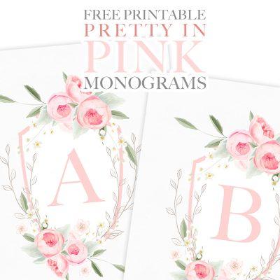 Pretty in Pink Free Printable Monograms