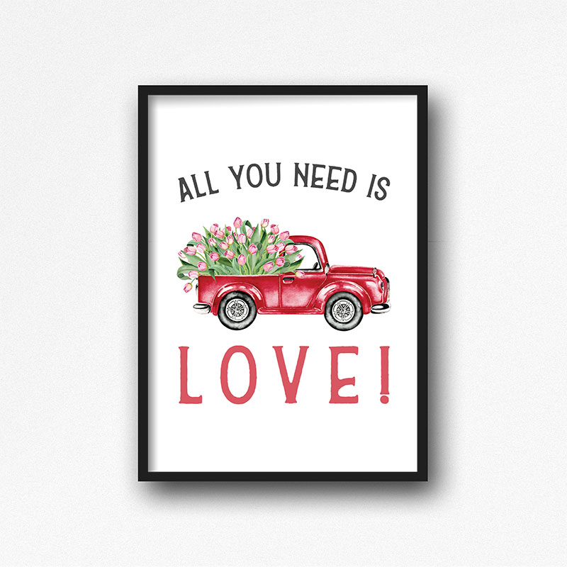 Free Printable Farmhouse Flower Truck Wall Art that will add a touch of charm to any room in the home.  A great Valentine's Day piece of Wall Art or any day!