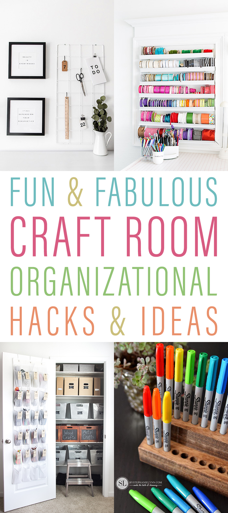 Fun and Fabulous Craft Room Organizational Hacks & Ideas so you can get one of your favorite rooms totally organized so you can do your projects in a snap!
