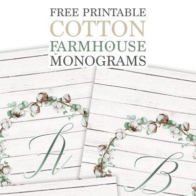 Free Printable Cotton Farmhouse Monograms