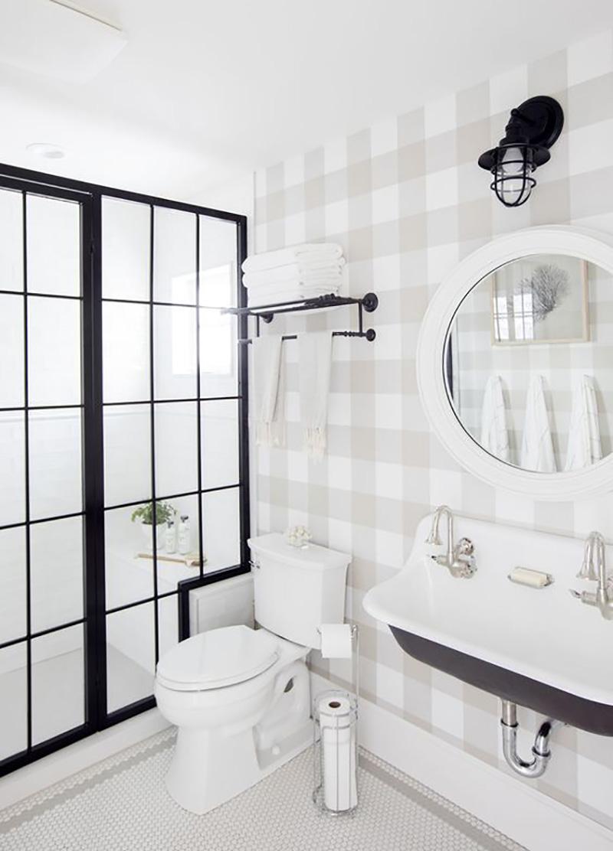 Farmhouse Bathroom With Wallpaper