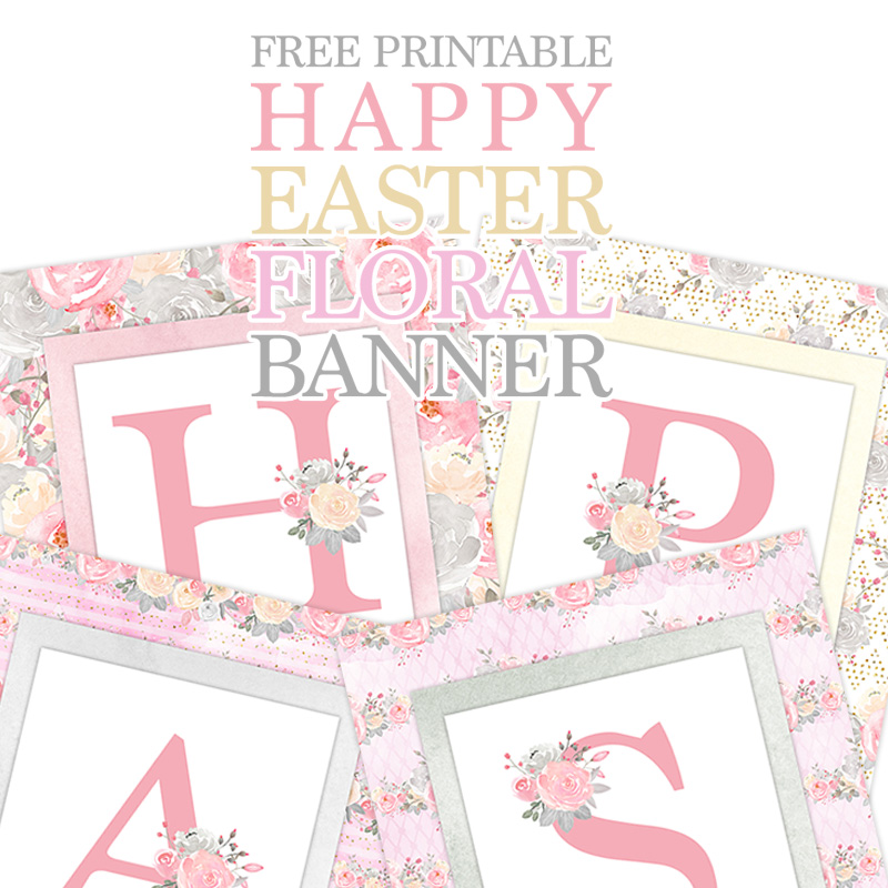 picture relating to Easter Banner Printable identified as Free of charge Printable Content Easter Floral Banner - The Cottage Marketplace