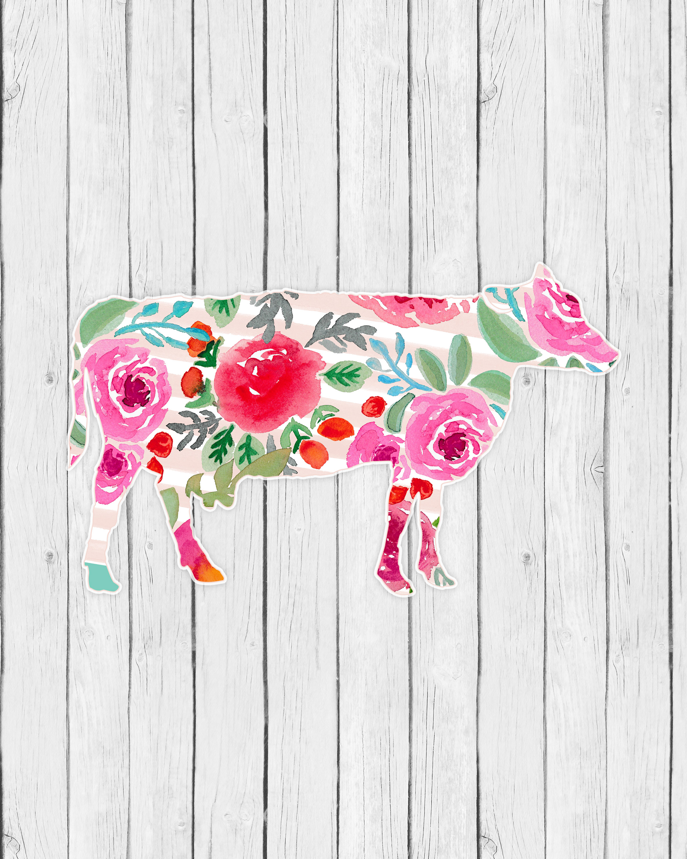 Free Printable Farm Animal Floral Wall Art - The Cottage Market