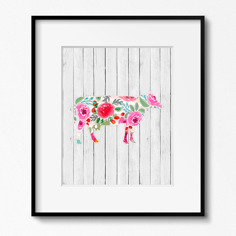 image about Free Printable Wall Art Flowers identified as No cost Printable Farm Animal Floral Wall Artwork - The Cottage Market place