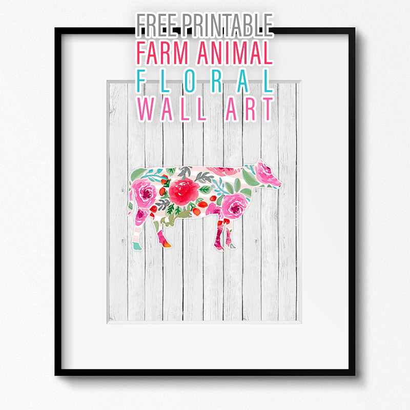 Free Printable Farm Animal Floral Wall Art