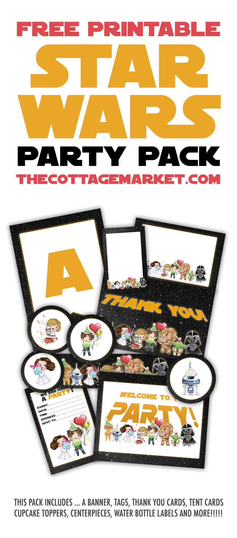 graphic about Printable Star Wars Images identify Free of charge Printable Star Wars Social gathering Pack - The Cottage Sector