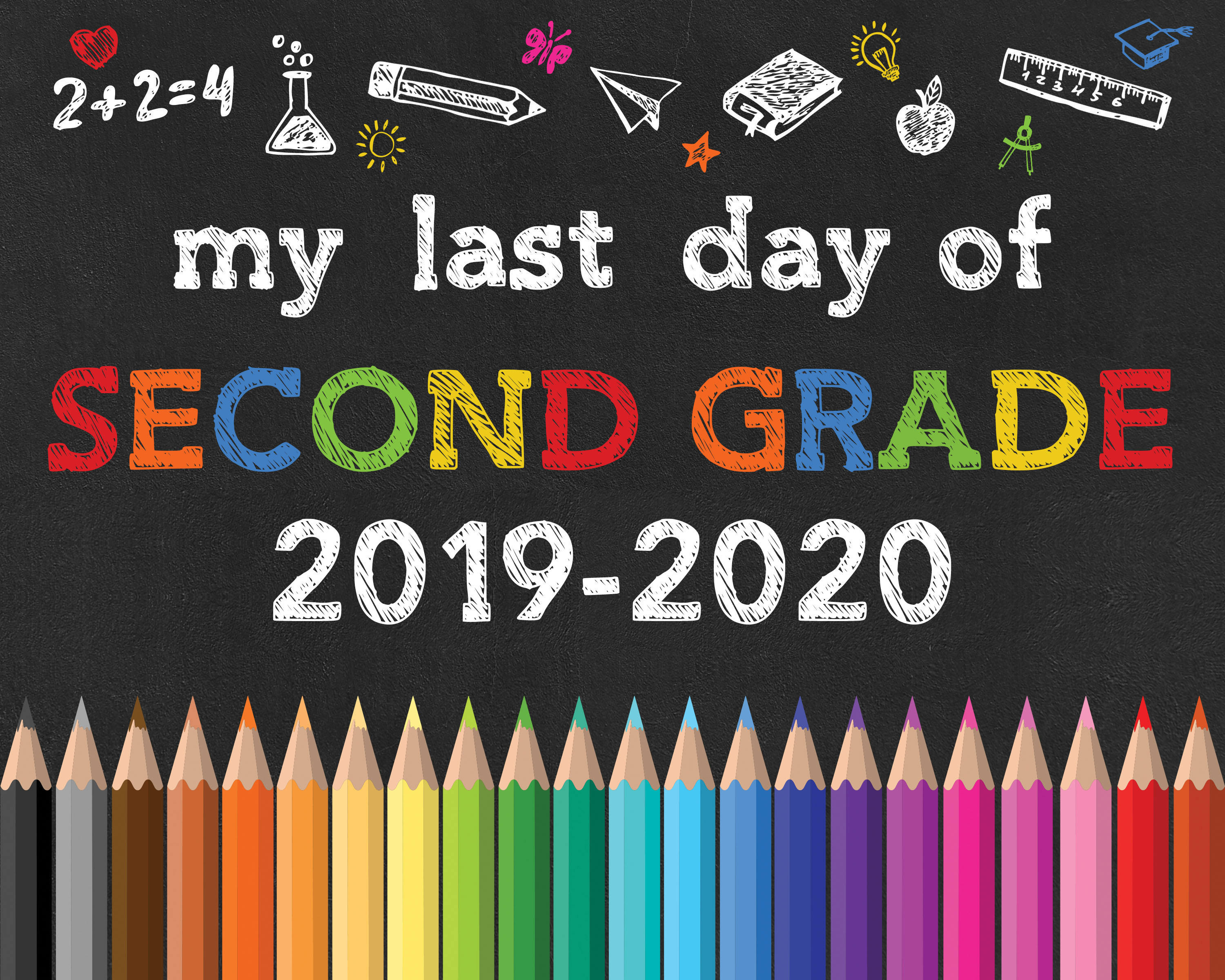graphic regarding Last Day of 2nd Grade Printable named Again in direction of College or university No cost Printable Chalkboard Signs and symptoms - The Cottage