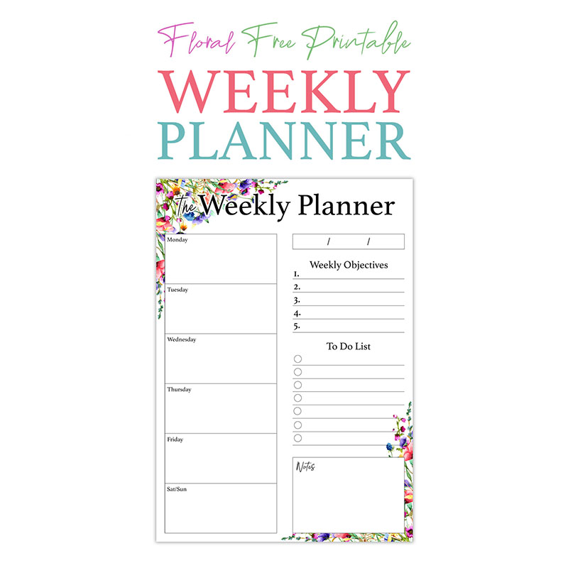 picture relating to Free Weekly Planner Printables named Floral No cost Printable Weekly Planner - The Cottage Marketplace