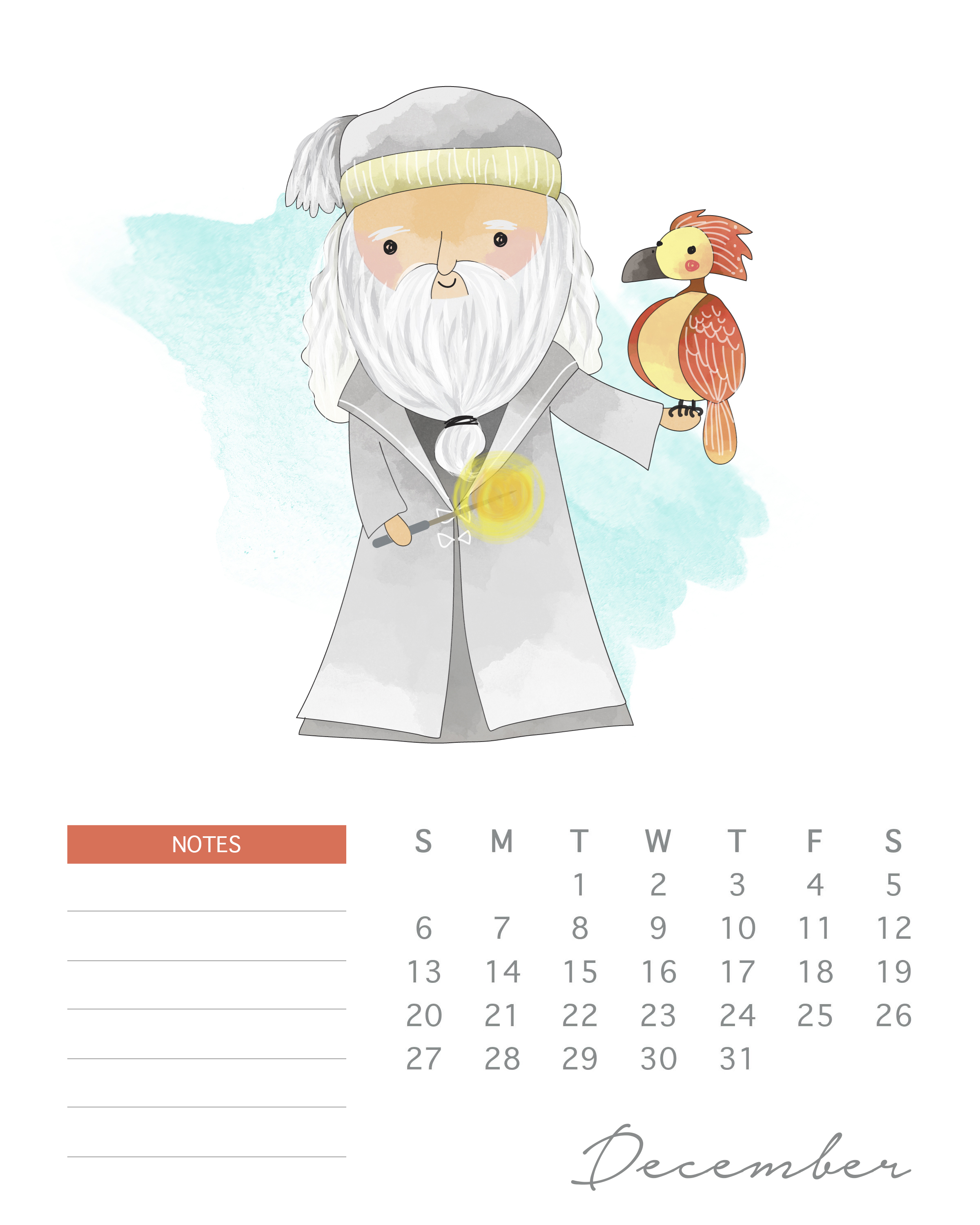 Free Printable 2020 Watercolor Harry Potter Calendar - The