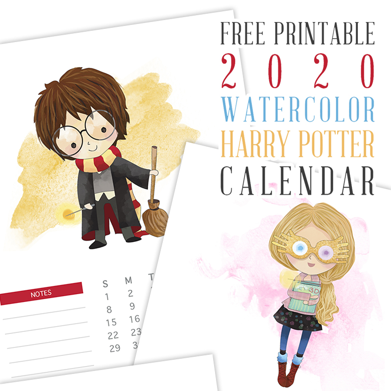 photo regarding Free Printable 2020 Calendar named Totally free Printable 2020 Watercolor Harry Potter Calendar - The