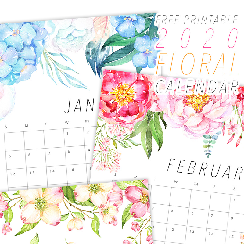 image relating to Printable Flower identified as Totally free Printable 2020 Floral Calendar - The Cottage Sector