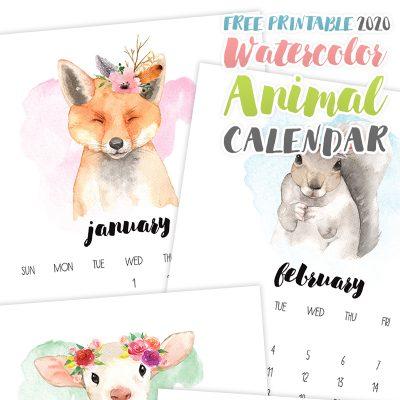 Free Printable 2020 Watercolor Animal Calendar