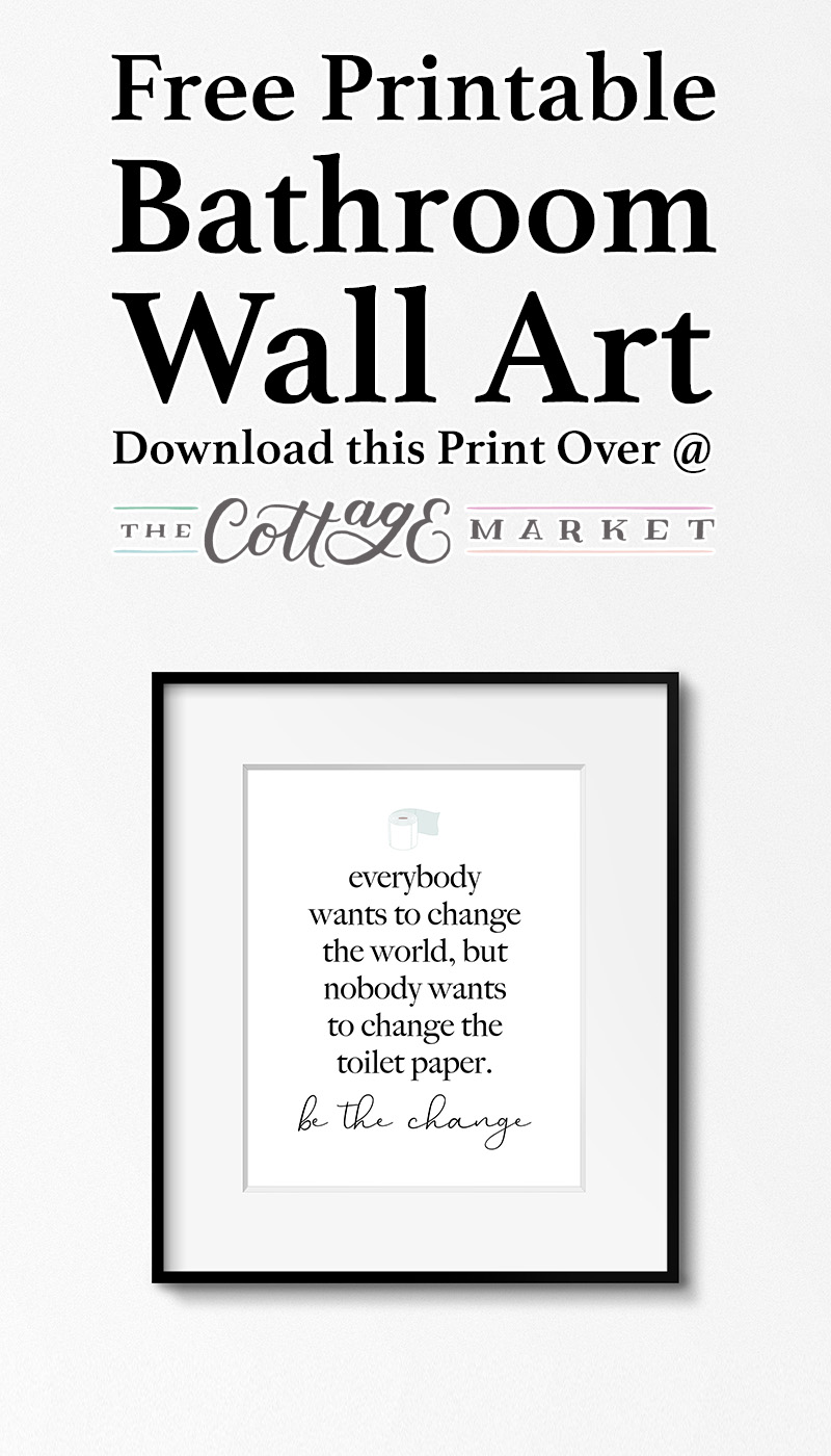 graphic about Free Printable Wall Art for Bathroom called Cost-free Printable Rest room Wall Artwork - The Cottage Sector