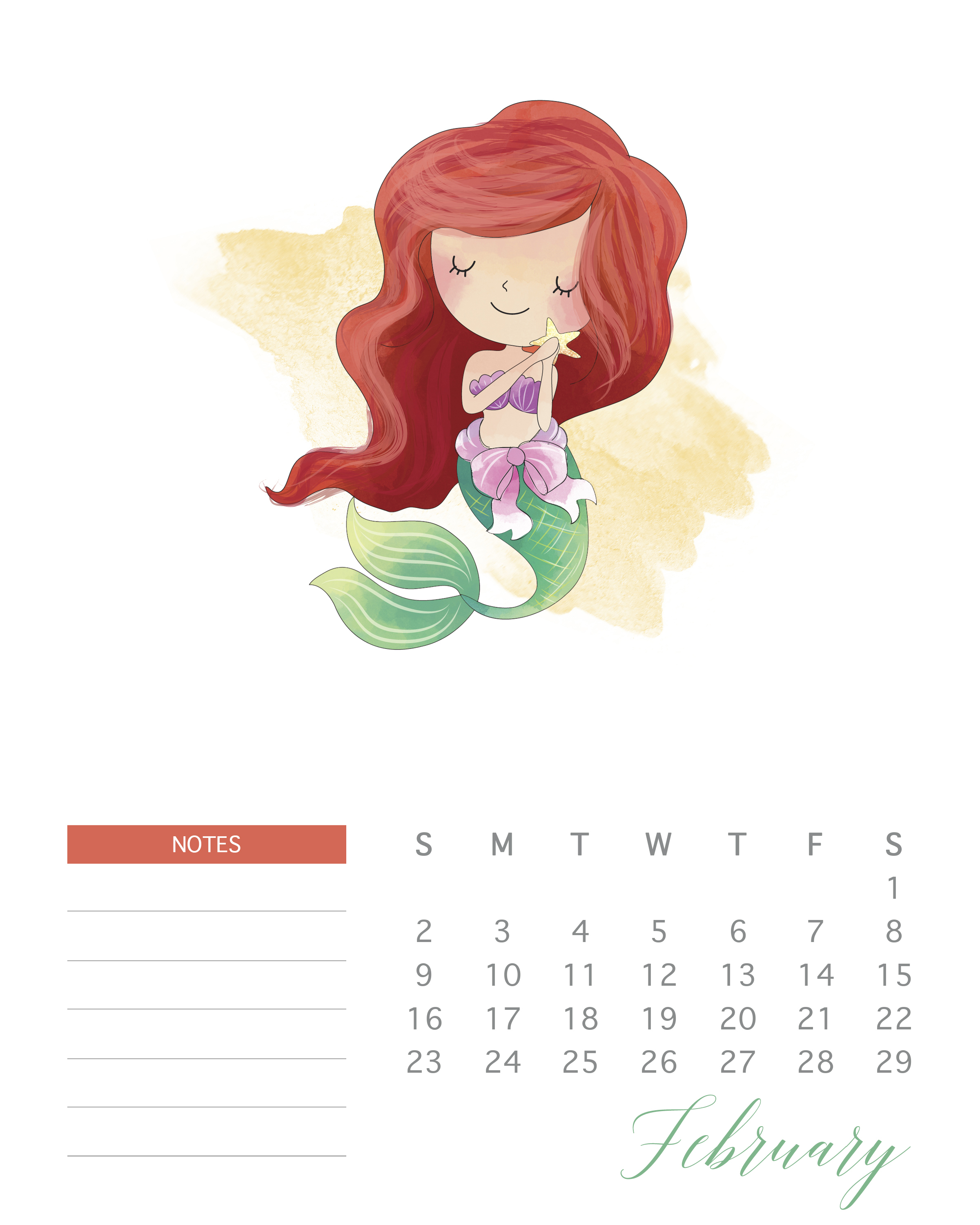 This Free Printable 2020 Watercolor Princess Calendar will bring you a full year of happiness and joy all while keeping you super organized and on time!