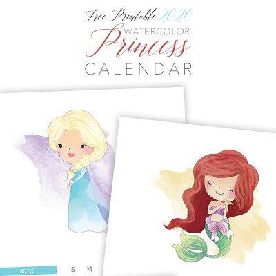 Free Printable 2020 Watercolor Princess Calendar