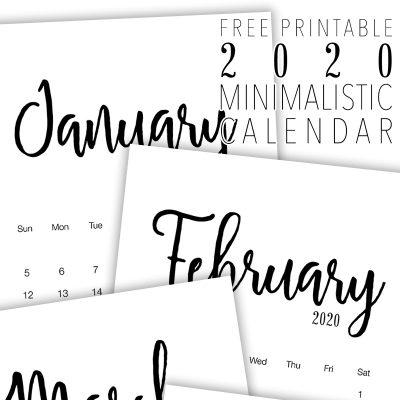 Free Printable 2020 Minimalist Calendar