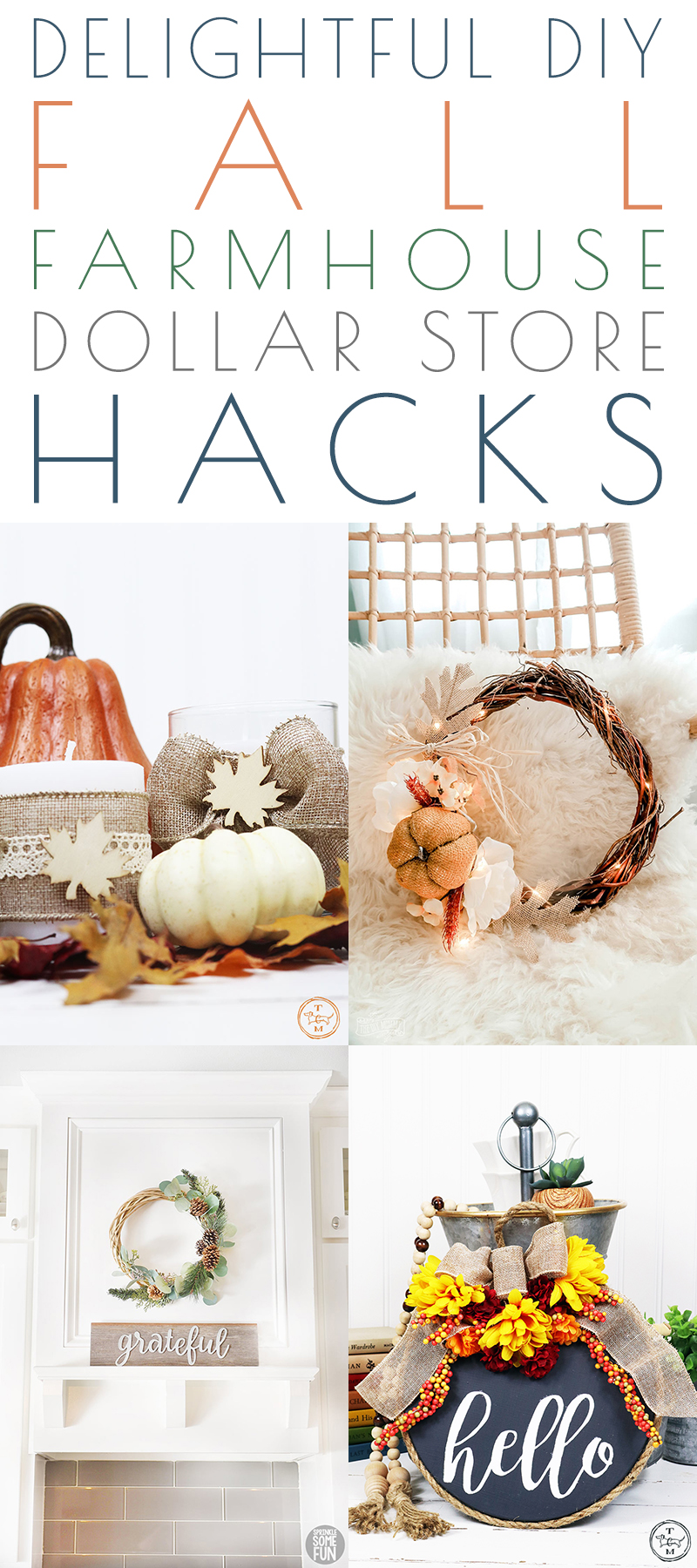 Delightful DIY Fall Farmhouse Dollar Store Hacks are waiting to inspire you to create Fall Decor for your whole house totally on a Budget!