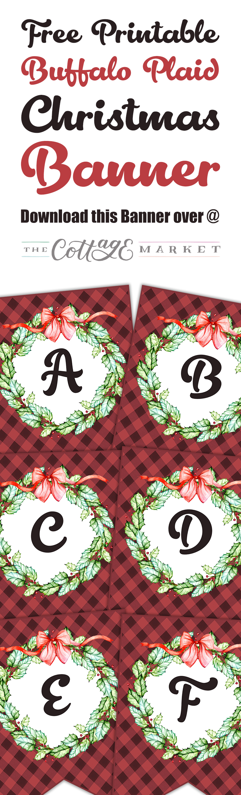 This Free Printable Buffalo Plaid Christmas Banner is just what you have been looking for this Holiday Season! A Full Alphabet, Punctuation and Numbers to create with!