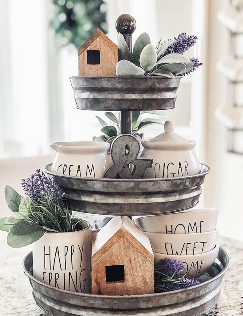 These Inspirational Farmhouse Rae Dunn Tiered Trays will totally motivate you to create for sure!  Come and get some fun ideas on how to show of your collection off in style.