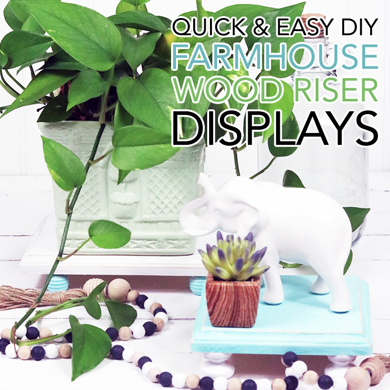 These Quick and Easy DIY Farmhouse Wood Riser Displays will add a ton of charm to a beautiful Vignette! They will highlight anything you want to feature from an Ornament, Plant to Food! Let your imagination Soar!