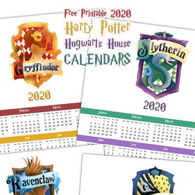Free Printable 2020 Harry Potter Hogwarts House Calendars