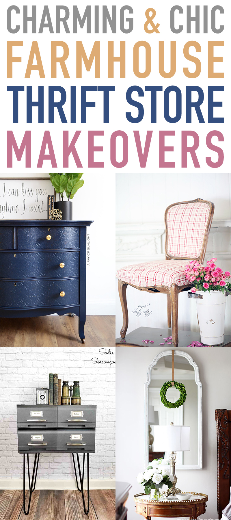 Charms and Chic Farmhouse Thrift Store Makeovers are going to Inspired you to create your own original diy project that will be amazing!