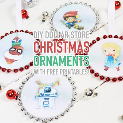 DIY Dollar Store Christmas Ornaments with Free Printables!
