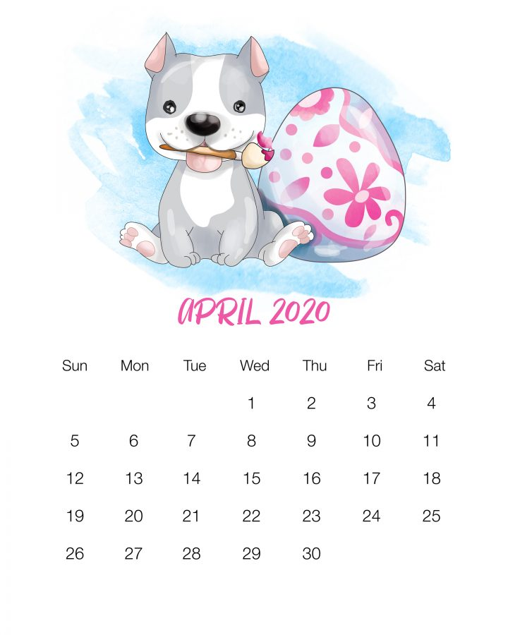 Free Printable 2020 Cute Dog Calendar - The Cottage Market