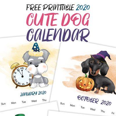 Free Printable 2020 Cute Dog Calendar