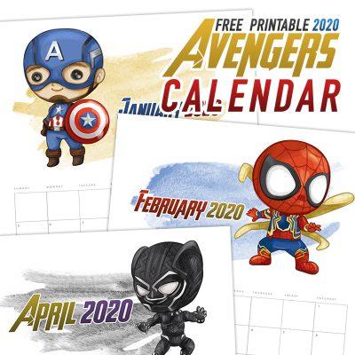 Free Printable 2020 Avengers Calendar