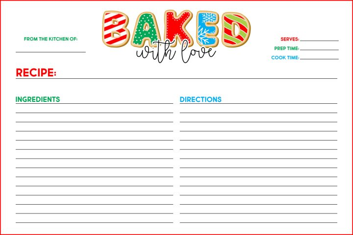 Free Printable Baked with Love Recipe Card is what is on the Free Printable Menu today at The Cottage Market. Share all your Holiday Sweet Treat Recipes with Friends and Family!
