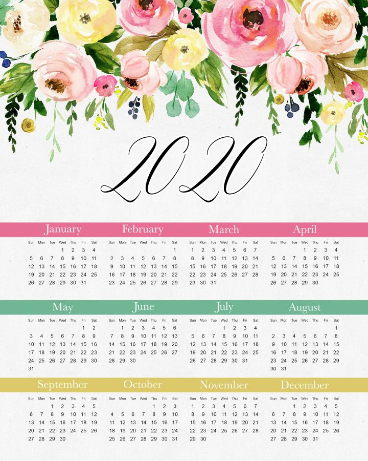 Start your year with this Free Printable 2020 Pretty Floral One Page Calendar that will have you organized in style all year long!