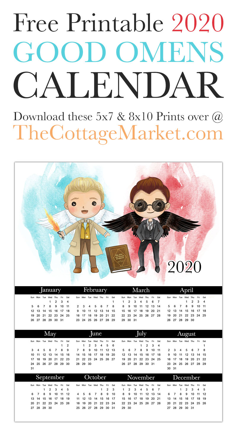 This Free Printable 2020 Good Omens Calendar is just what you need to keep your organized and on time this coming year! Come on over and print one of your very own!