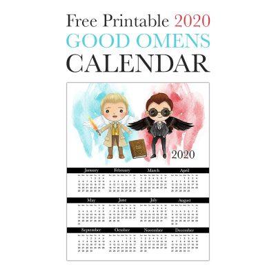 Free Printable 2020 Good Omens Calendar