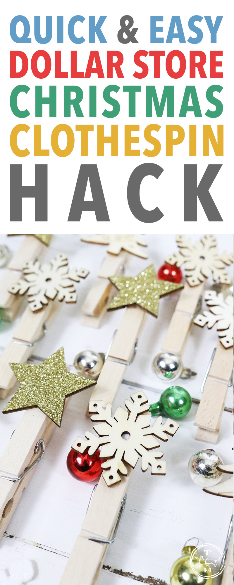 It's time for a Quick and Easy Dollar Store Christmas Clothespin Hack with a wonderful Farmhouse Charm... just waiting to be created so they can hang up all of your Holiday Cards!