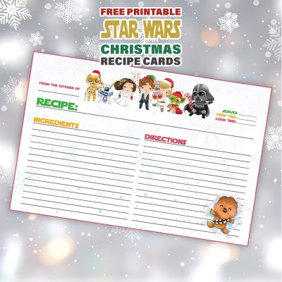 Free Printable STAR WARS Christmas Recipe Card