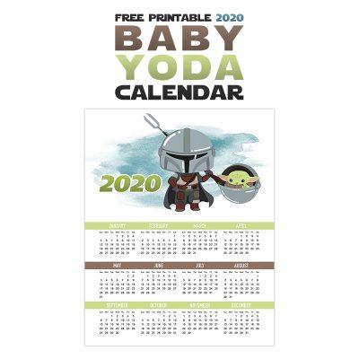 Free Printable 2020 Baby Yoda Calendar