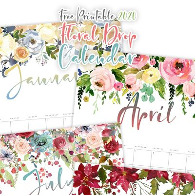 Free Printable 2020 Floral Drop Calendar