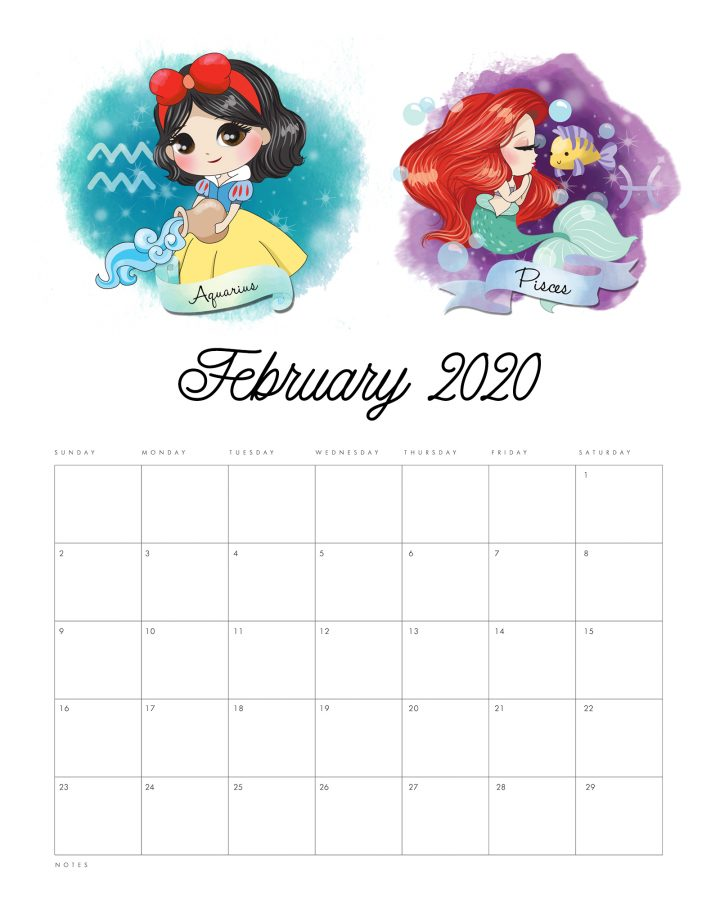 This Free Printable 2020 Princess Zodiac Calendar is waiting for you to print so it can add a touch of fun and beauty to your space and keep you organized all year long!