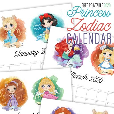 Free Printable 2020 Princess Zodiac Calendar